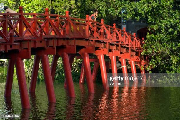 The Huc bridge leading to Ngoc Son Temple in Hoan Kiem Hanoi Old Quarter Huc Bridge to Ngoc Son Temple Jade Mountain Temple Hoan Kiem Lake Hanoi...