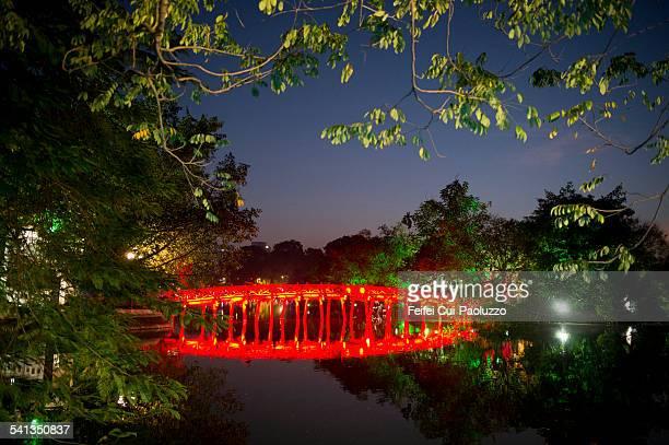 The Huc Bridge of Hoan Kiem lake Hanoi Vietnam