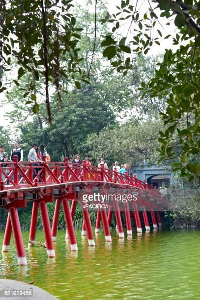 The Huc Bridge on Hoan Kiem Lake