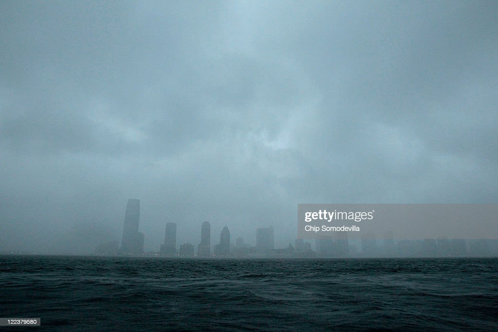 The Hudson River churns under the early effects of Hurricane Irene August 28, 2011 in New York City. Hurricane Irene made a second landfall near Atlantic City, New Jersey early Sunday morning, battering the northeast with high winds and rain.