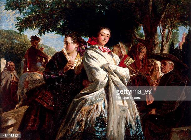 'The Huff' 1859 a group of Spanish women with the central figure in a huff
