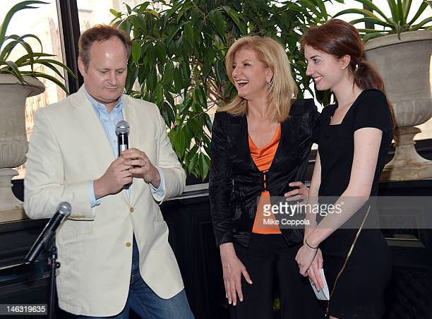 The Huffington Post executive editor Tim O'Brien author/columnist Arianna Huffington and Isabella Huffington speak at the launch party for Huffington...