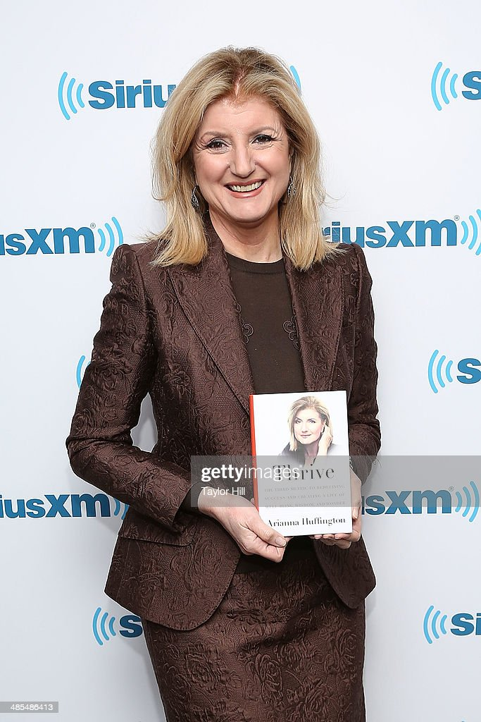 The Huffington Post founder <a gi-track='captionPersonalityLinkClicked' href=/galleries/search?phrase=Arianna+Huffington&family=editorial&specificpeople=204730 ng-click='$event.stopPropagation()'>Arianna Huffington</a> visits the SiriusXM Studios on April 18, 2014 in New York City.