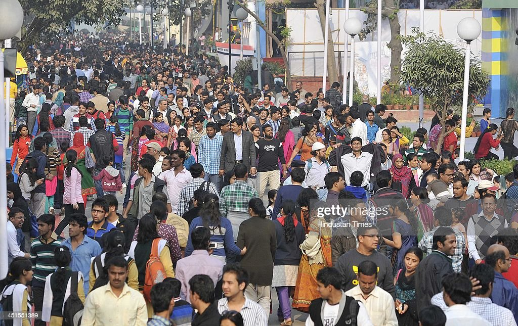 The huge crowd at the India International Trade Fair 2013 at Pragati Maidan on November 23, 2013 in New Delhi, India. The 14-day event scheduled from 14 to 27 November 2013. About 6000 exhibitors including 250 from foreign countries are participating in the fair. This year Japan is a partner country and South Africa, the focus country.