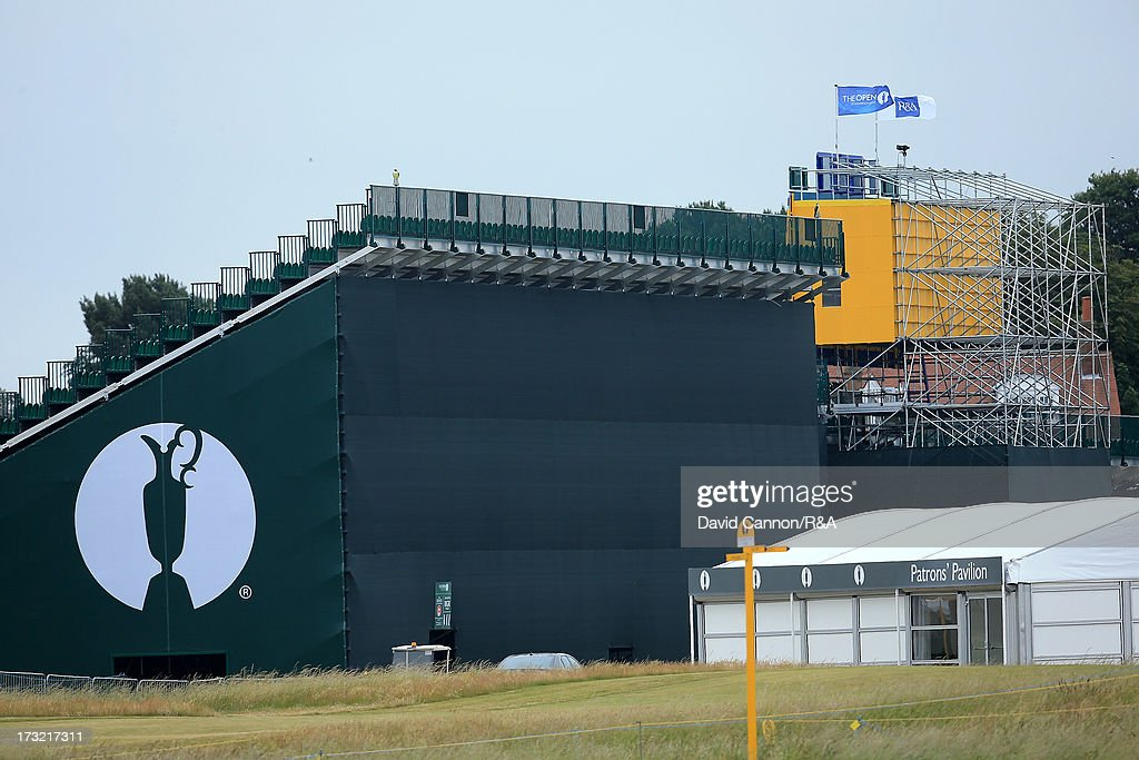 The huge grandstand and scoreboard beside the 18th hole area as a preview for the 2013 Open Championship at Muirfield on July 10, 2013 in Gullane, Scotland.