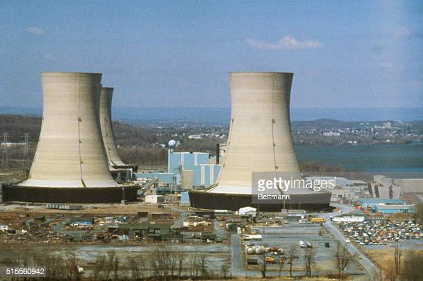 The huge towers of Three Mile Island nuclear power plant in Londonderry Township Pennsylvania near the Susquehanna River | Location Londonderry...