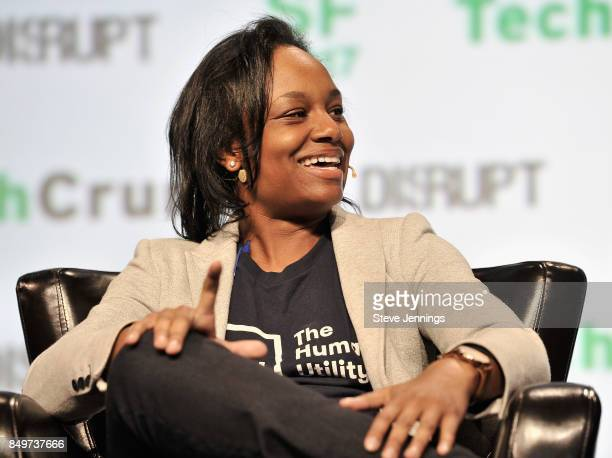 The Human Utility Founder and Executive Director Tiffani Ashley Bell speaks onstage during TechCrunch Disrupt SF 2017 at Pier 48 on September 19 2017...