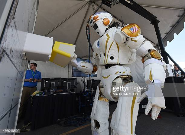 The humanoid robot named 'Valkyrie' designed by NASA is on display during the finals of the DARPA Robotics Challenge at the Fairplex complex in...