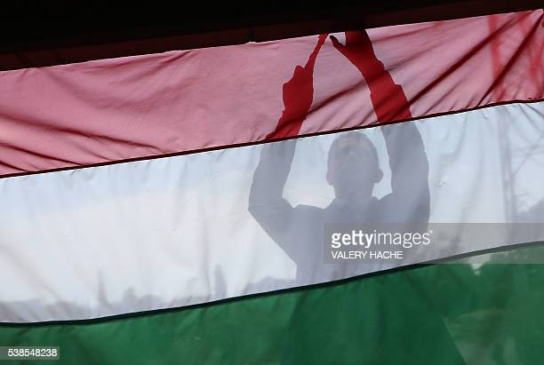 The Hungarian flag is nailed into place prior to the arrival of the Hungary football team at 'Hotel de Mougins' before the Euro 2016 football...