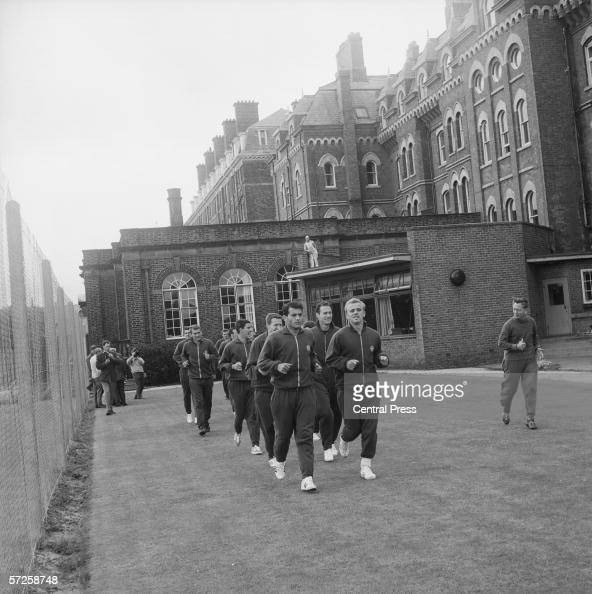 The Hungarian football team training in the grounds of the Palace Hotel in Southport where they are staying during the 1966 World Cup in England 8th...