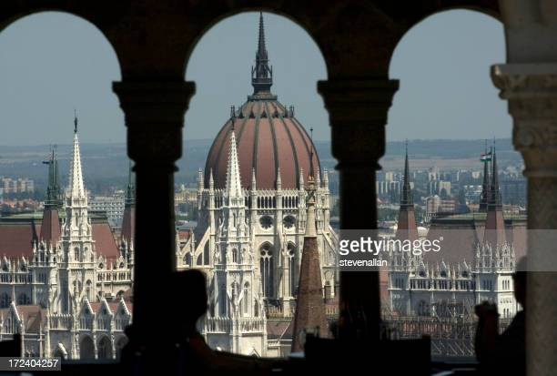 The Hungarian Parliament building Danube River Budapest