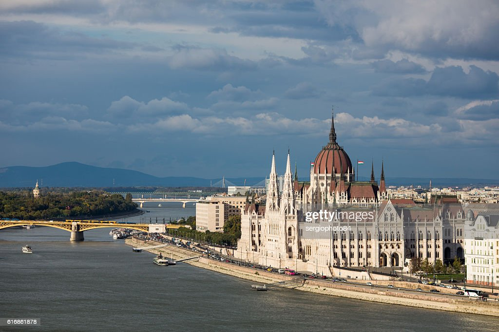 The Hungarian Parliament Building on the bank of the Danube : Stock Photo