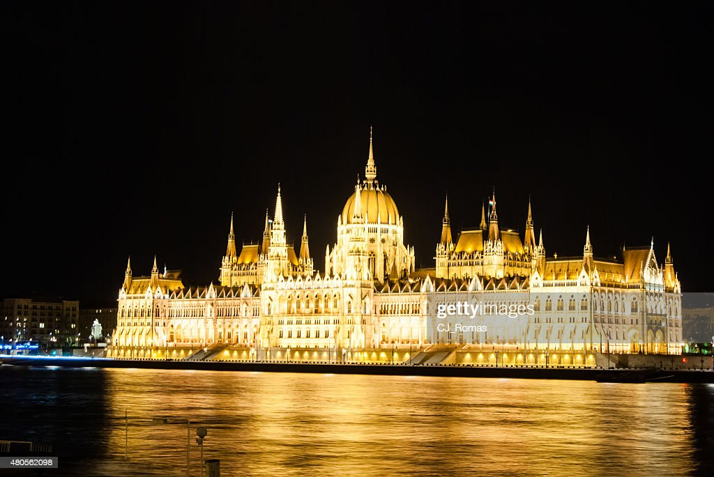 The Hungarian Parliament Building with bright and beautiful illu : Stock Photo