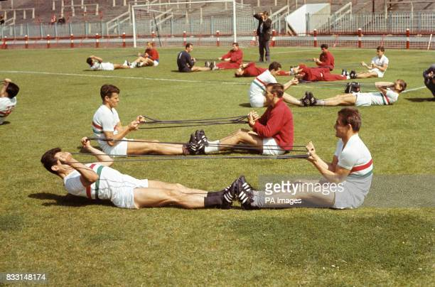The Hungary players during training at Sunderland FC's Roker Park
