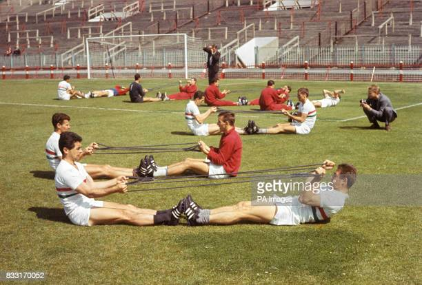 The Hungary players during training at Sunderland's Roker Park