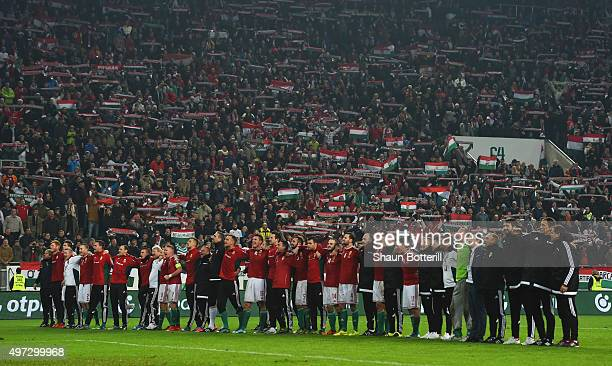 The Hungary team celebrate following their 21 victory and qualification during the UEFA EURO 2016 Qualifier PlayOff second leg match between Hungary...