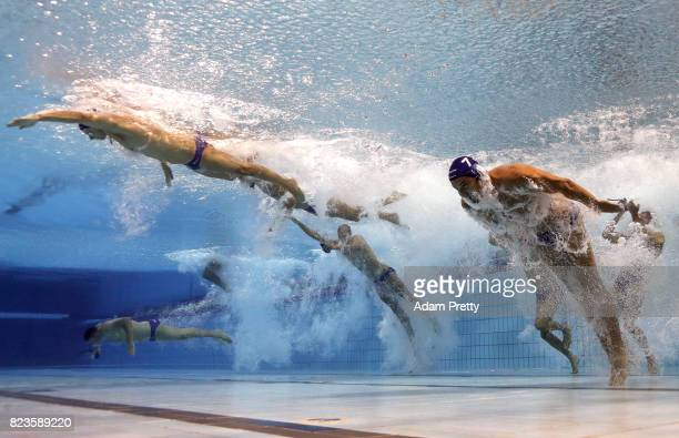 The Hungary team enter the pool competes during the Men's Water Polo semi final between Greece and Hungary on day fourteen of the Budapest 2017 FINA...