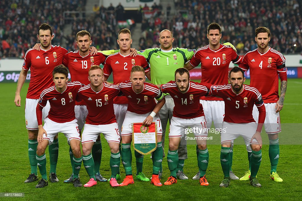 The Hungary team pose for the cameras prior to kickoff during the UEFA EURO 2016 Qualifier PlayOff second leg match between Hungary and Norway at...