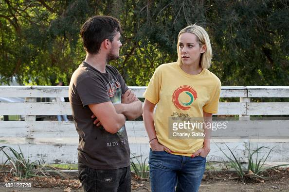 The Hunger Games costars Josh Hutcherson and Jena Malone on set for 'The Rusted' a short film for Canon's Project Imagination The Trailer on July 23...