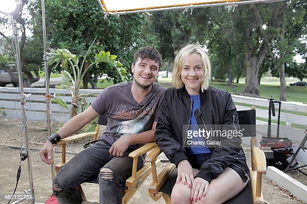The Hunger Games costars Josh Hutcherson and Jena Malone on set for 'The Rusted' a short film for Canon's Project Imagination The Trailer on July 22...