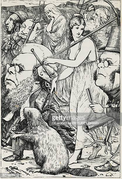 The Hunting of the Snark with pitchforks and hope illustration for the poem of the same name by Lewis Carroll pseudonym of Charles Lutwidge Dodgson...