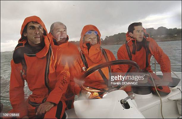 The Hydrofoil 'Hydroptere' 40 Knots Above The Seas On November 10 2004 In La TriniteSurMer France The Hydrofoil'S Crew L To R 38YearOld Francois...