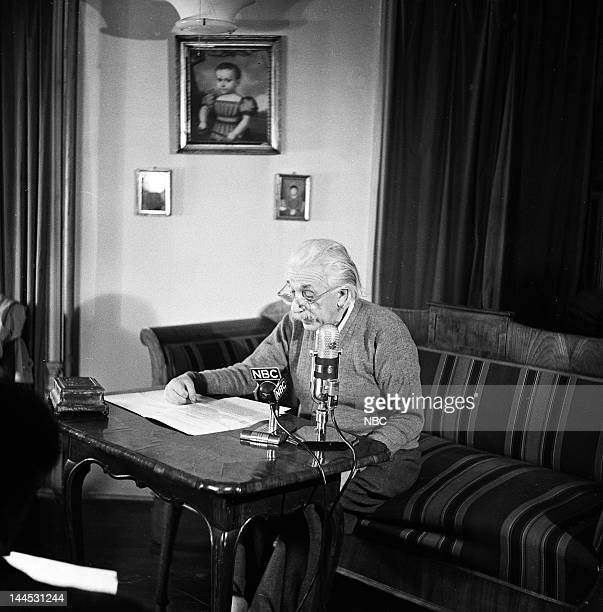 PUBLIC 'The Hydrogen Bomb vs Atomic Energy' Episode 101 Pictured Dr Albert Einstein in the Colonial Room of the Park Sheraton Hotel in Washington DC
