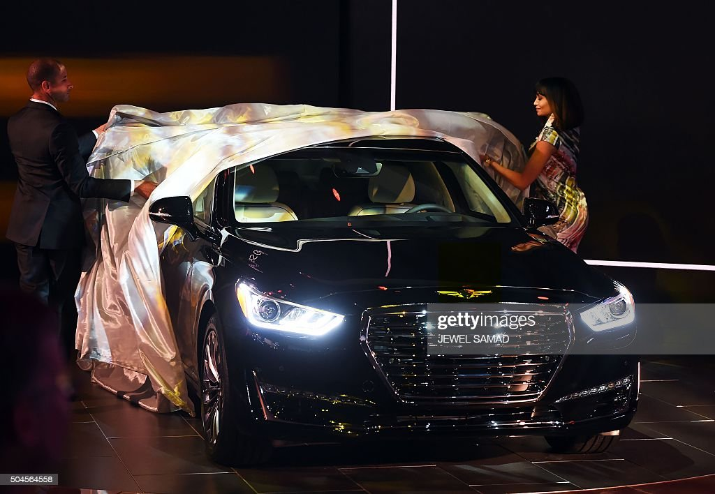 The Hyundai 2017 Genesis G90 luxury car is unveiled during the press preview of the 2016 North American International Auto Show in Detroit Michigan...