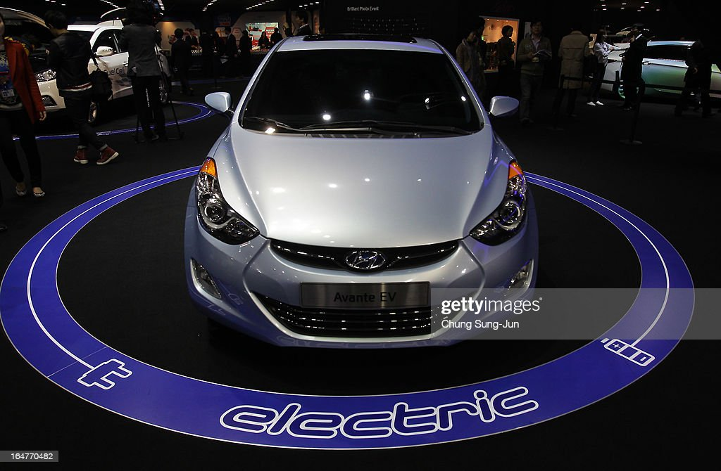 The Hyundai Avante EV Electric is seen at the Seoul Motor Show 2013 on March 28, 2013 in Goyang, South Korea. The Seoul Motor Show 2013 will be held in March 29-April 7, featuring state-of-the-art technologies and concept cars from global automakers. The show is its ninth since the first one was held in 1995. About 384 companies from 14 countries, including auto parts manufacturers and tire makers, will set up booths to showcase trends in their respective industries, and to promote their latest products during the show.