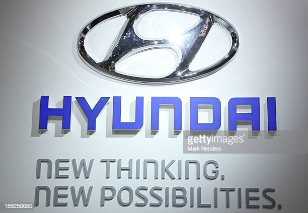 The Hyundai corporate logo is displayed at the 91st edition of the European Motor Show at Brussels Expo on January 10 2013 in Brussels Belgium