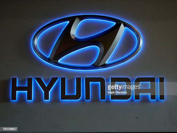 The Hyundai corporate logo is seen at the International Car Show at Heysel on January 22 2008 in Brussels Belgium