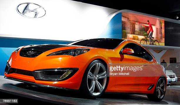 The Hyundai Genesis Coupe Concept is displayed during the press preview days at the North American International Auto show at Cobo Center January 14...