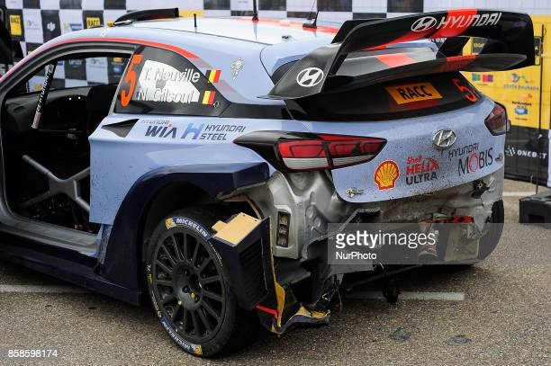 The Hyundai i20 car of Thierry Neuville before crash during the second day of the Rally Racc Catalunya Costa Daurada on October 7 2017 in Salou Spain