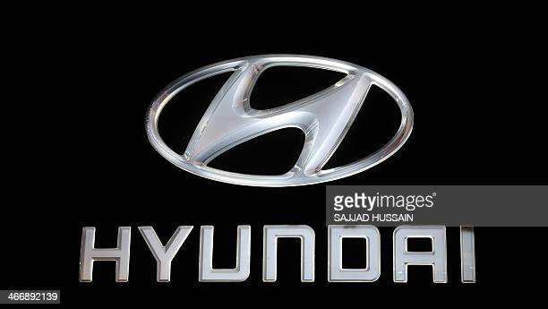 The Hyundai logo is pictured at the Auto Expo 2014 in Greater Noida on the outskirts of New Delhi on February 5 2014 The 12th edition of the Auto...