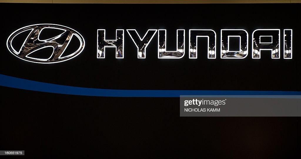 The Hyundai logo is seen at the Washington Auto Show at the Walter E. Washington Convention Center in Washington on February 2, 2013. The show runs February 1-10. AFP PHOTO/Nicholas KAMM