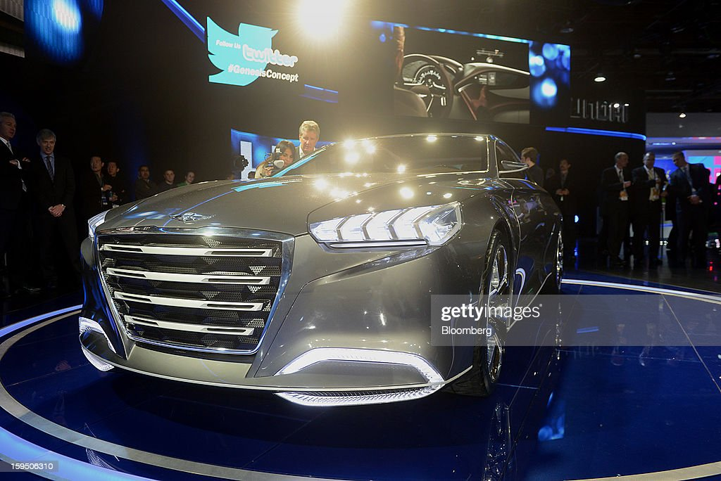 The Hyundai Motor Co. HCD-14 Genesis concept luxury sedan is displayed during the 2013 North American International Auto Show (NAIAS) in Detroit, Michigan, U.S., on Monday, Jan. 14, 2013. The Detroit auto show runs through Jan. 27 and will display over 500 vehicles, representing the most innovative designs in the world. Photographer: Daniel Acker/Bloomberg via Getty Images