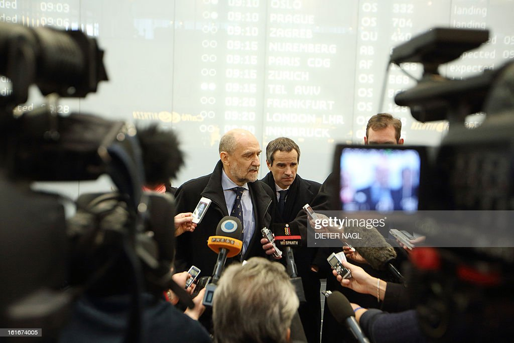 The IAEA (International Atomic Energy Agency) Deputy Director General and Head of the Department of Safeguards Herman Nackaerts (C) speaks to journalists after arriving after a trip with his team to Iran on February 14, 2013 at Schwechat Airport in Vienna. Nackaerts said that talks with Iran had failed again to reach a deal on enhanced inspections of Tehran's nuclear programme, two weeks before a major meeting with world powers.