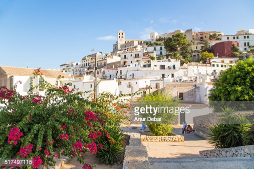 The Ibiza old town with flowers on summertime.