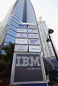 The IBM logo in front of the head quarters January 5 2004 in Seoul South Korea South Korean prosecutors have indicted 48 people for bribery and other...