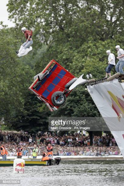 The ICBM team launch their flying machine into the Serpentine Lake in Hyde Park London at the Red Bull Flugtag London 2008 competition