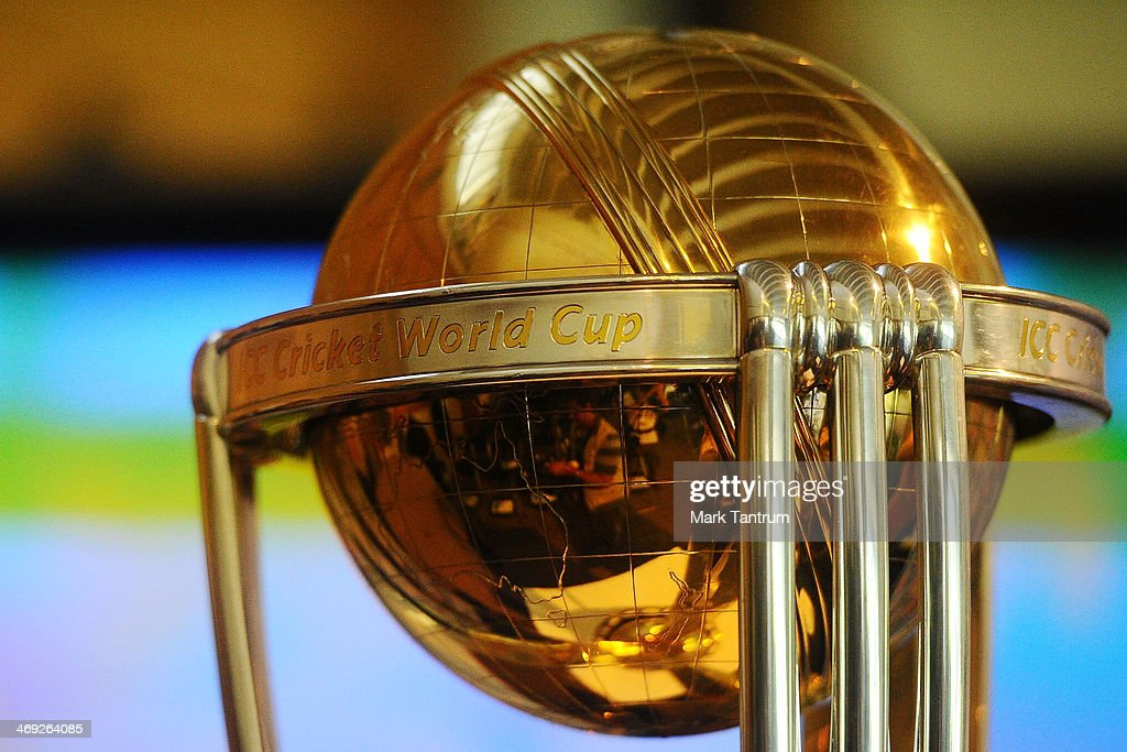 The ICC Cricket World Cup is shown on display in the ICC Cricket World Cup 'One Year To Go' event on February 14, 2014 in Wellington, New Zealand.