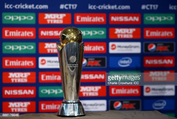 The ICC Trophy on show during the ICC Champions Trophy Sri Lanka Press Conference on May 25 2017 in London England