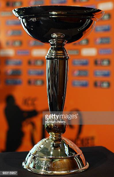 The ICC Under 19 trophy is seen on display during the official launch of the ICC Under 19 Cricket World Cup at the University Oval on November 23...