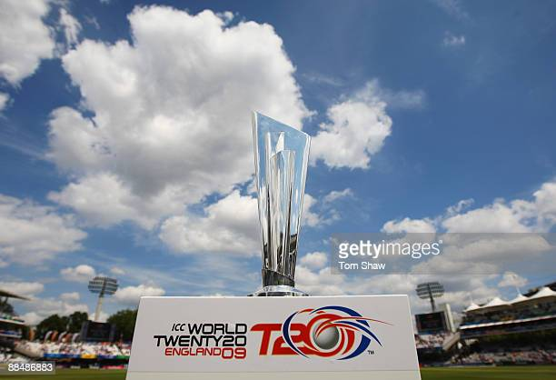 The ICC World Twenty20 trophy is displayed during the ICC World Twenty20 Super Eights match between Ireland and Sri Lanka at Lord's on June 14 2009...