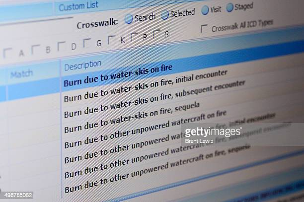 The ICD10 code for being burned due to waterskis on fire on the computer of Dr David Opperman at the Colorado Voice Clinic on November 25 2015 in...