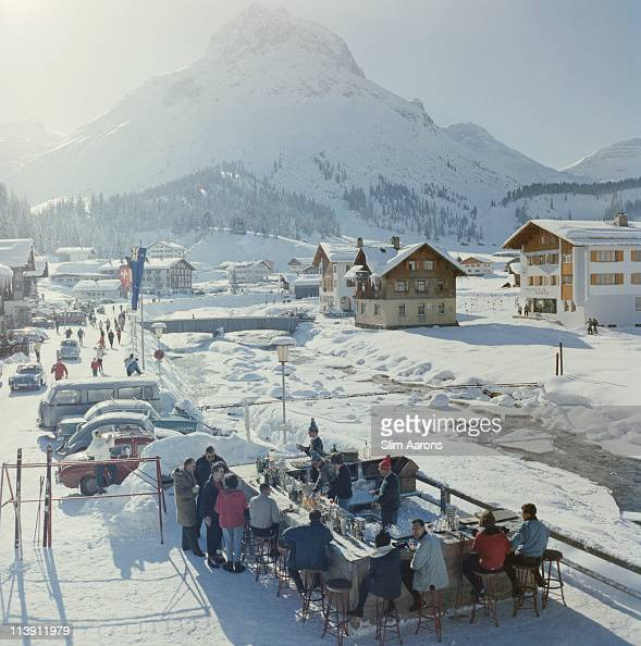The Ice Bar at the Hotel Krone in Lech Austria 1960 The mountain in the background is the Omershorn