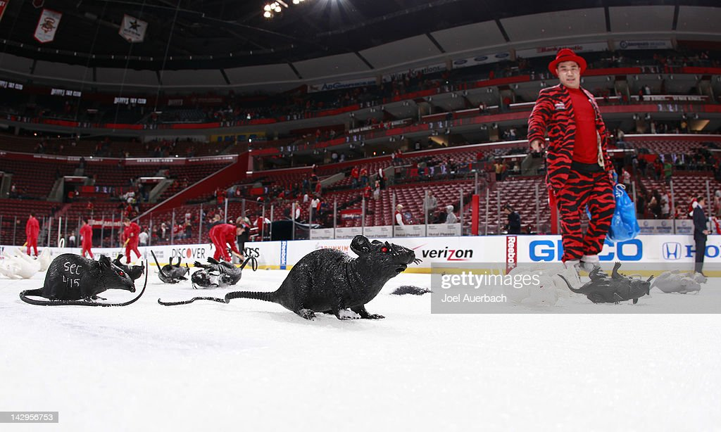 The ice crew collects hundreds of plastic rats after the Florida Panthers defeated the New Jersey Devils in Game Two of the Eastern Conference...
