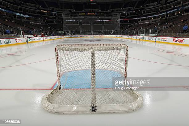 The ice sheet and goals are prepared for the game as the Calgary Flames prepare to face the Colorado Avalanche at the Pepsi Center on November 9 2010...