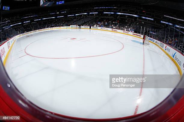 The ice sheet is prepared for the Columbus Blue Jackets to face the Colorado Avalanche at Pepsi Center on October 24 2015 in Denver Colorado The Blue...