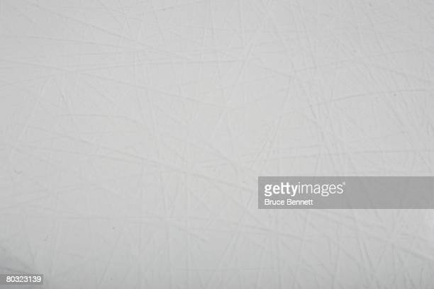 The ice surface photographed on March 18 2008 prior to the game between the Toronto Maple Leafs and the New York Islanders at the Nassau Coliseum in...